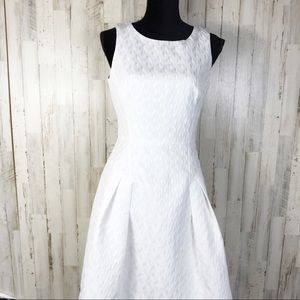 WHBM White Sleeveless Fit and Flare Dress Summer